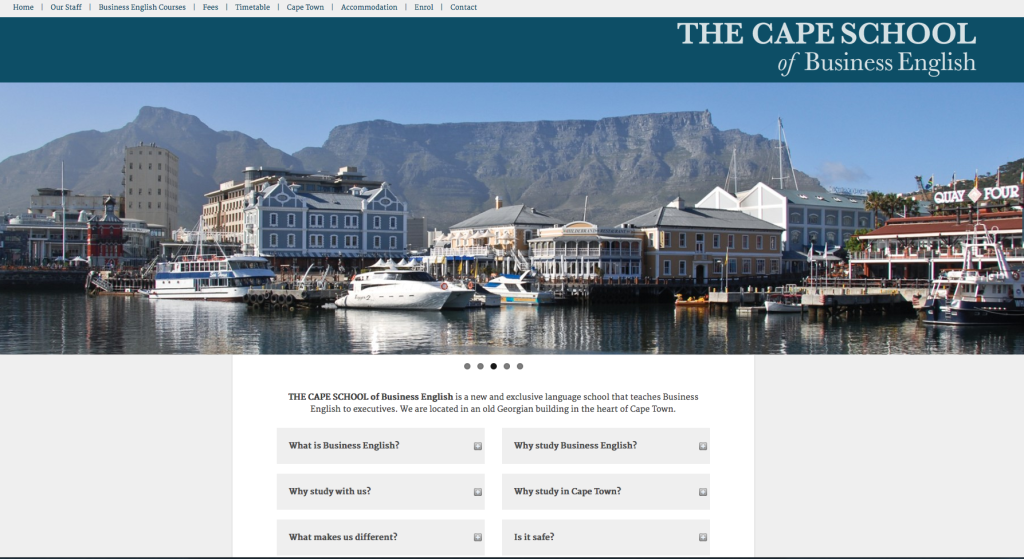 Cape school of Business English website